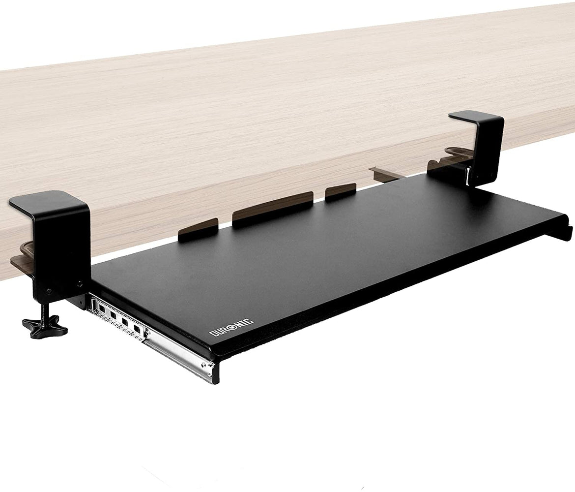 Duronic Keyboard Platform DKTPX1 | Under Desk Drawer for Keyboard and Mouse | Clamp On Keyboard Tray | Ergonomic Workstation Solution | Sliding Pull-Out Tray | Easy Assembly