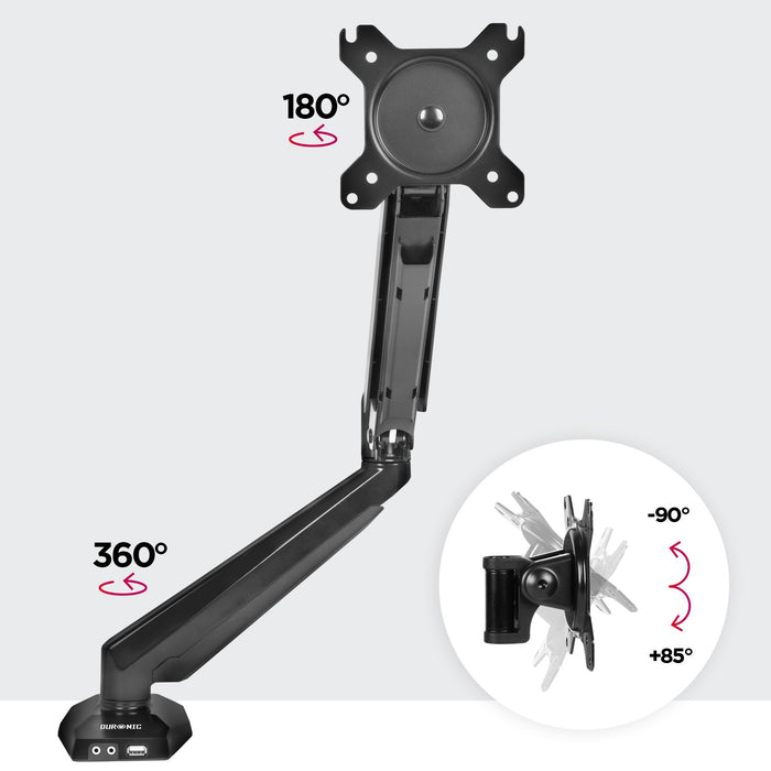 "Duronic Monitor Arm Stand DMUSB5X1 | Single PC Desk Mount | Headphone USB Microphone Extension Sockets | 13-27"" LED LCD Screen 
