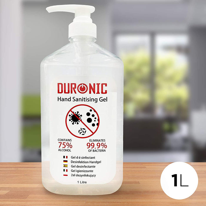 Duronic Hand Sanitiser S1000ML | 1000ml Bottle – Large 1 Litre Jumbo Size | 75% Alcohol | Kills 99.9% Bacteria | Anti-bacterial | Fast Drying | Fragrance-Free Formula