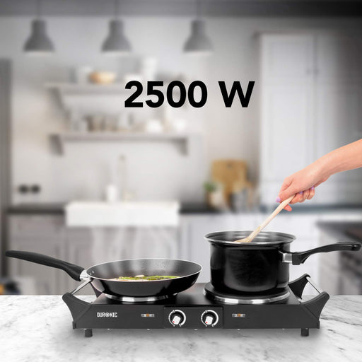 Duronic HP2BK Portable Electric Hot Plate Hob Cooktop Double Boiling Ring Cooker 2500W Black Table Top Hotplate (1500W & 1000W) with Handles