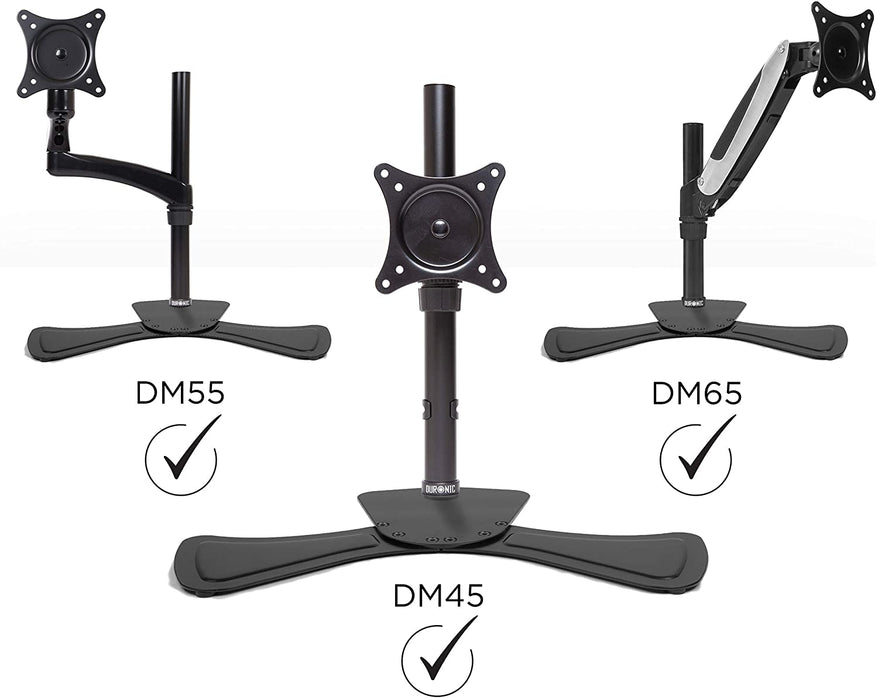 Duronic DM75 Stand for Pole | Attaches to Duronic DM15 DM25 DM35 DM453 Poles | Flat Freestanding Monitor Base for Desk | Heavy Duty Steel | Alternative Installation Solution to Clamp or Grommet Fixing