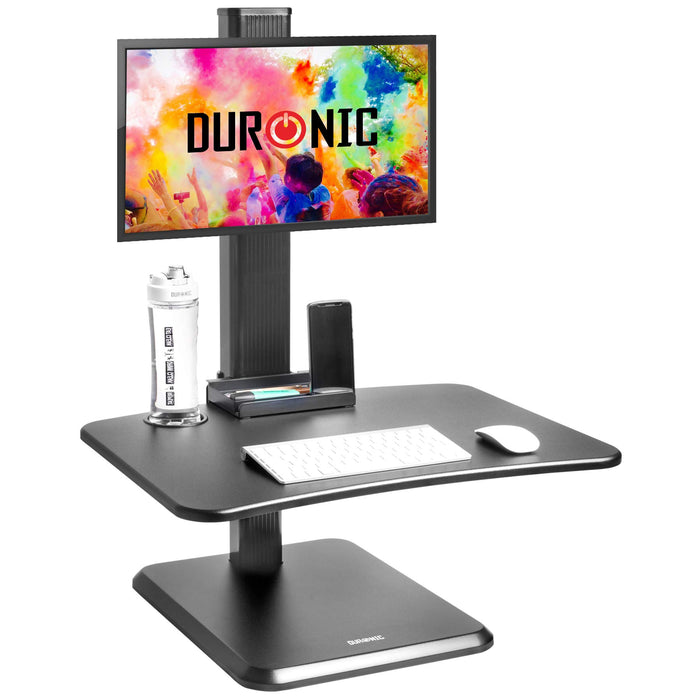 Duronic Sit-Stand Desk DM05D14 | Height Adjustable Office Workstation | 65x35cm Platform | Raises 7-44cm | Riser for PC Computer Screen and Keyboard | Ergonomic Desktop Converter with Screen Mount