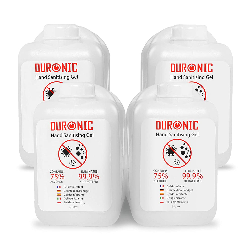 Duronic Hand Sanitiser Gel S5000ML [4 PACK] | 4x 5000ml Bottle – Large 5 Litre Refill Size | 75% Alcohol | Kills 99.9% Bacteria | Anti-Bacterial | Fast Drying | Fragrance-Free Formula