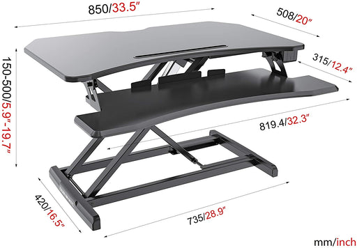 Duronic Sit-Stand Desk DM05D22 | Electric Height Adjustable Office Workstation | 85x50cm Platform | Rise from 15-50cm | For PC Computer Screen, Keyboard, Laptop | Ergonomic Desktop Table Converter