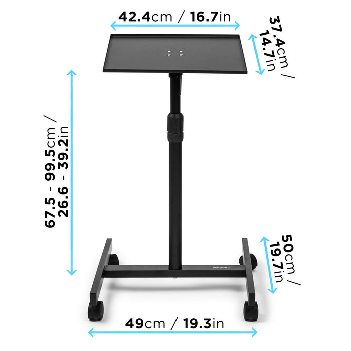Duronic Projector Stand WPS20 | Adjustable Video Projector Floor Table on Wheels | Tall Moveable Laptop Trolley | Portable | On Caster Wheels | Adjustable Height | 5kg Capacity