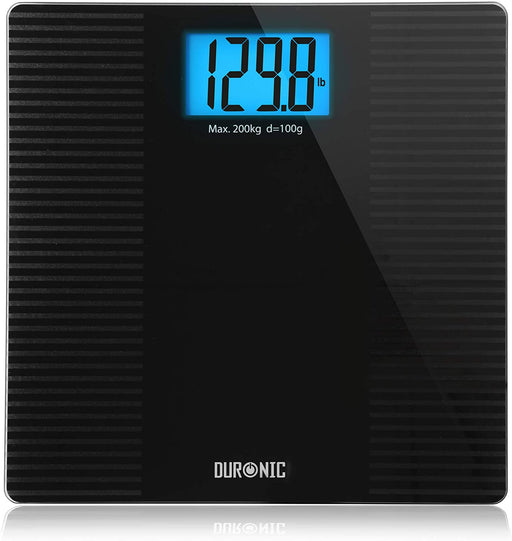 Duronic Body Scales BS203 | Measures Body Weight in Kilograms, Pounds and Stones | Black Non-Slip Design | Step-On Activation Bathroom Scales | Precision Sensors | XL Digital Display | 200kg Capacity