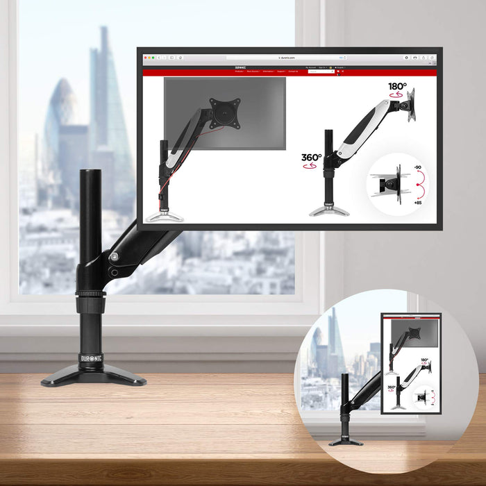 Duronic DM551X1 Spring Single LCD LED Sprung Desk Mount Arm Monitor Stand Bracket with Tilt and Swivel (Tilt -90°/+85°Swivel 180°|Rotate 360°) + 10 Year Warranty
