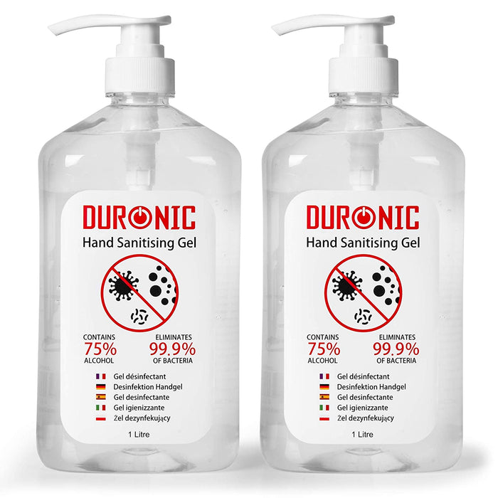 Duronic Hand Sanitiser Gel S1000ML [2 PACK] | 2x 1000ml Bottles – Large 1 Litre Jumbo Size | 75% Alcohol | Kills 99.9% Bacteria | Anti-bacterial | Fast Drying | Fragrance-Free Formula