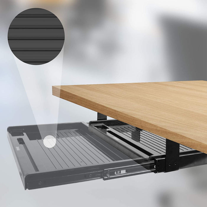 Duronic Keyboard Platform DKTSX2 | Under Desk Drawer for Keyboard and Mouse | Attachable Keyboard Tray | 41x31cm / 16x12in | Ergonomic Workstation Solution | Sliding Pull-Out Tray | Easy Installation