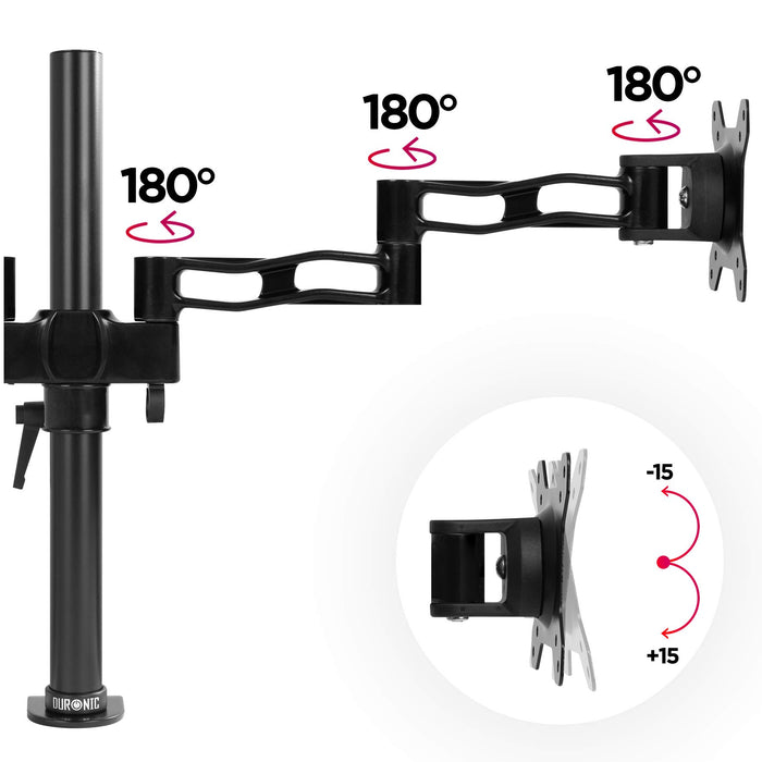 Duronic Monitor Arm Stand BLACK DM352[BK] | Double PC Desk Mount | Aluminium | Height Adjustable | For Two 13-27 LED LCD Screens | VESA 75/100 | 8kg Per Screen | Tilt +15°/-15°,Swivel 180°,Rotate 360°