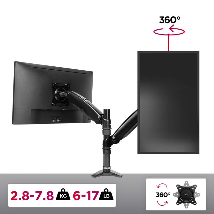 Duronic DM551X2 Spring Single LCD LED Sprung Desk Mount Arm Monitor Stand Bracket with Tilt and Swivel (Tilt -90°/+85°Swivel 180°|Rotate 360°)