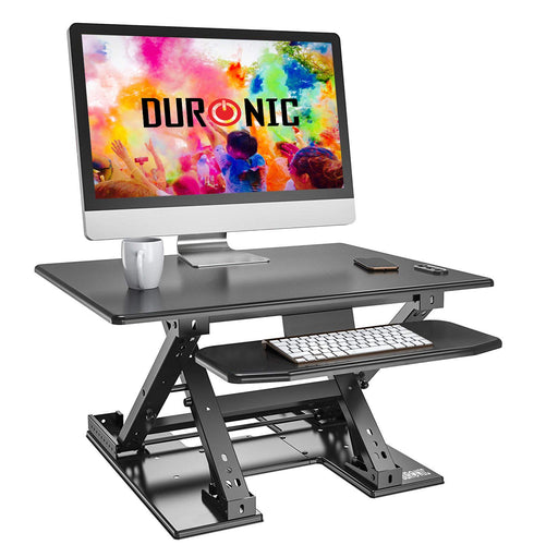 Duronic Sit-Stand Desk DM05D9 | Electric Height Adjustable Office Workstation | 80x62cm Platform | Raises from 13.5-44cm | Riser for PC Computer Screen, Keyboard, Laptop | Ergonomic Desktop Converter
