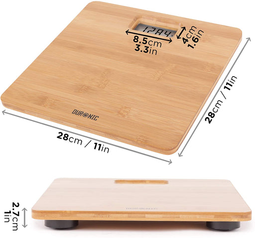 Duronic Body Scales BS503 | Measures Body Weight in Kilograms, Pounds and Stones | Lightweight Eco-Friendly Bamboo Design | Step-On Activation Bathroom Scales | Precision Sensors | 180kg Capacity