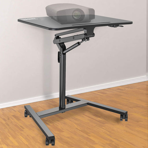 Duronic Projector Stand WPS37 | Multi-Use Video Projector Floor Table on Wheels| Moveable Ergonomic Sit-Stand Work Desk with Tablet Support | Portable | Adjustable Height and Reach | 10kg Capacity