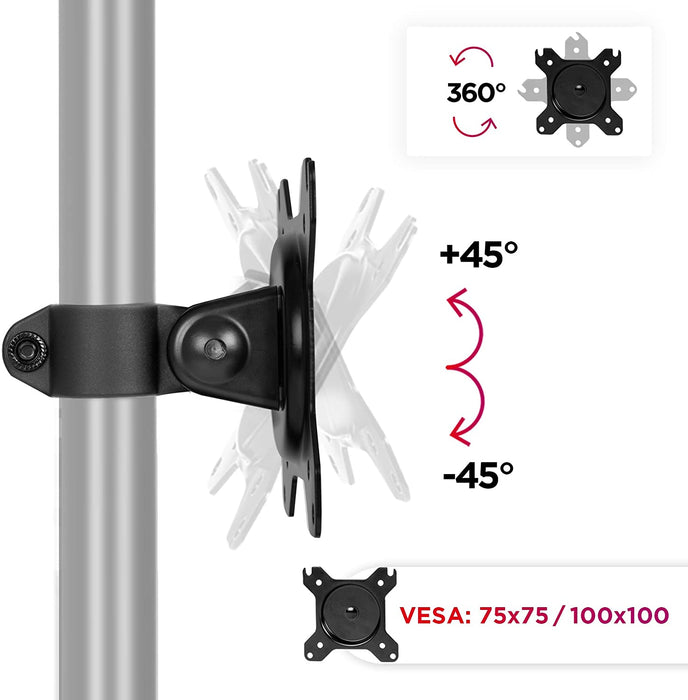 Duronic VESA Head DM15 DM25 | Universal Mounting Head to Use with Any Duronic Desk Mount Pole | Bracket for PC Computer Screen | Rotates 360°, Tilts +45°/-45° | Fits VESA 75/100