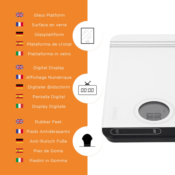 Duronic Kitchen Scales KS885 Large Digital Display 5KG Glass Platform Kitchen Scales and Postal Scales with Tare Function