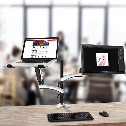 "Duronic Desk Mount DM65L1X1 | Single Monitor Stand for 15""-27"" LCD/LED PC/TV Screen and Laptop 