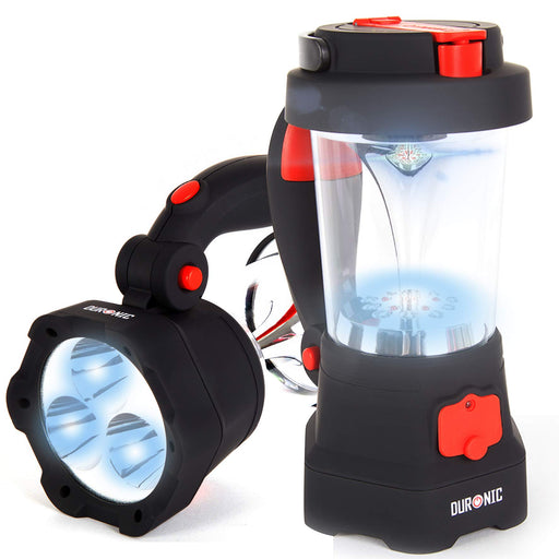 Duronic Hurricane LED Torch | Rechargeable 2 Ways: Wind-up & USB | 4-in-1 Design: Torch, Lantern, Emergency Beacon & Phone Charger | Bright Flashlight with SOS Red Flashing Light Mode | Hang/Hold/Stand