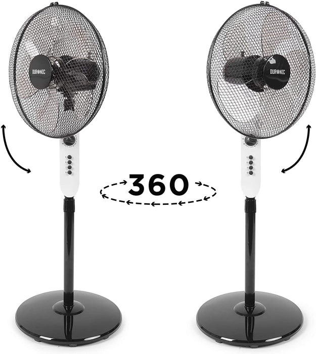 Duronic Pedestal Fan FN45 | Oscillating/Rotating | Three Speed Settings | Floor Standing | Height Adjustable | 16 Inch Tilting Head | Timer Function | Electric 60W | Home/Office Cooling For Summer