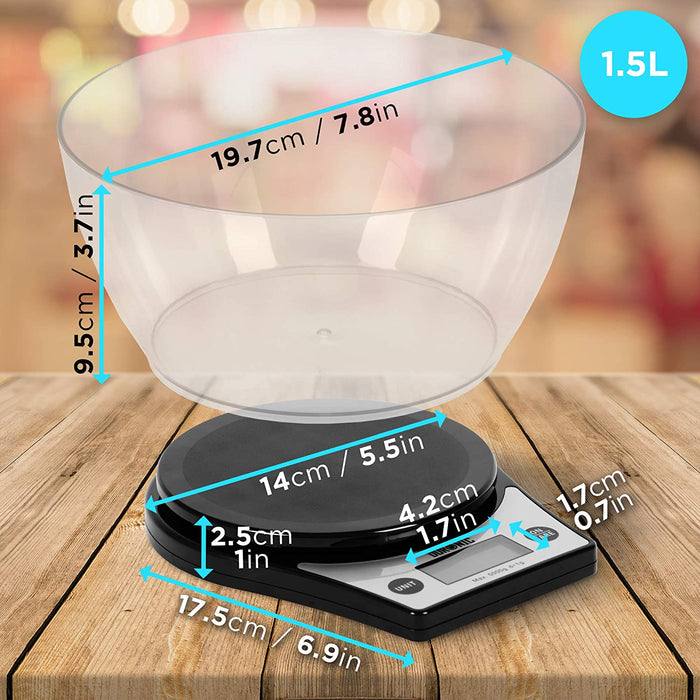 Duronic Digital Kitchen Scales KS6000 BK | Black Design with 1.5L Bowl | 5kg Capacity | LCD Backlit Display | Add & Weigh Tare | 0.1g Precision | Measure Ingredients for Cooking & Baking