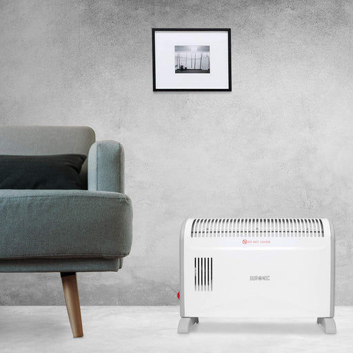 Duronic Convector Heater HV120 | 2kW/2000w | Electric | Convection Heating | Adjustable 3 Heat Settings 750 / 1250 / 2000w | Turbo Fan | Thermostat | Wall Mounted or Free-Standing | Oil-Free Radiator…