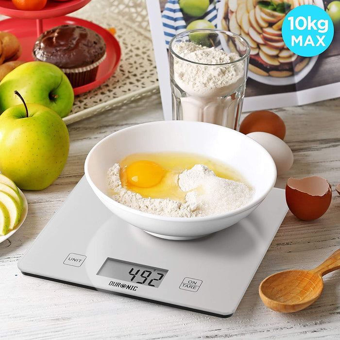 Duronic Kitchen Scales KS1080 | 10KG Capacity | Silver Glass Platform | Digital Display | Add & Weigh Tare | 1g Precision | Measure for Cooking & Baking | Use as Postage Scales for Letters/Parcels