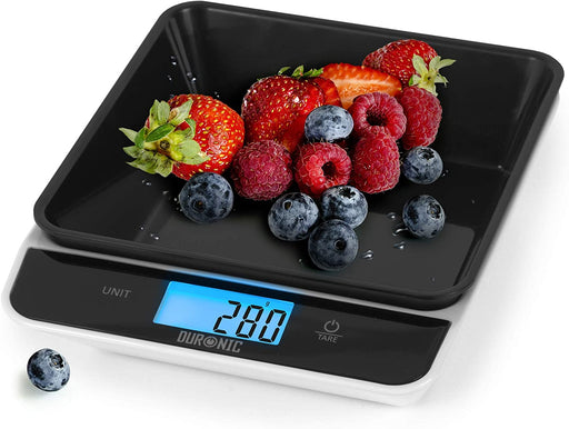 Duronic Digital Kitchen Scales KS100 BK | Black/White Design with 700ml Bowl | 5kg Capacity | LCD Backlit Display | Add & Weigh Tare | 0.1g Precision | Measure Ingredients for Cooking & Baking