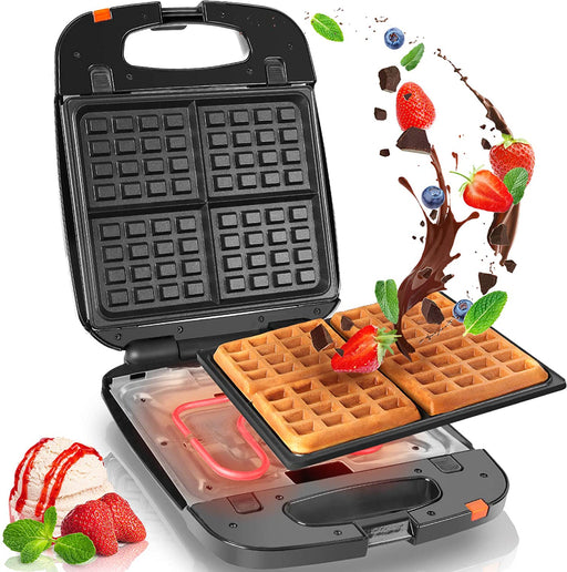 Duronic Waffle Maker WM60 | Deep Fill 4 Waffle Iron | Detachable Non-Stick Cooking Plates | 1200W | Easy Clean | Automatic Temperature Control | Make Homemade Belgian Waffles for Breakfast/Dessert