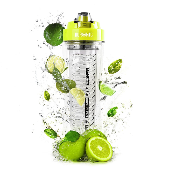 Duronic 600CR/GN Clear 600ml BPA Free Infuser Water Bottle with Green Lid - Compatible BL3 Blender