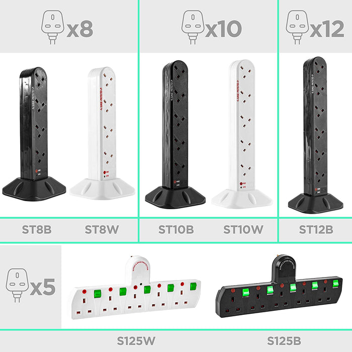 Duronic 10 Way Extension Tower ST10B | 10-Gang Power Strip Lead | Surge & Spike Protector | For UK Plug Sockets | BLACK | Electric Multi Plug Adapter | Max. 3000W Capacity | 2 Metre (2M) Power Cable