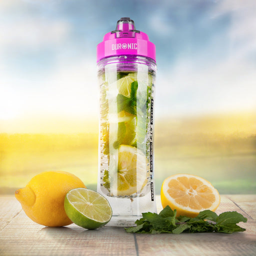 Duronic 600CR/PK Clear 600ml BPA Free Infuser Water Bottle with Pink Lid - Compatible with Duronic BL3 | BL505 Blenders
