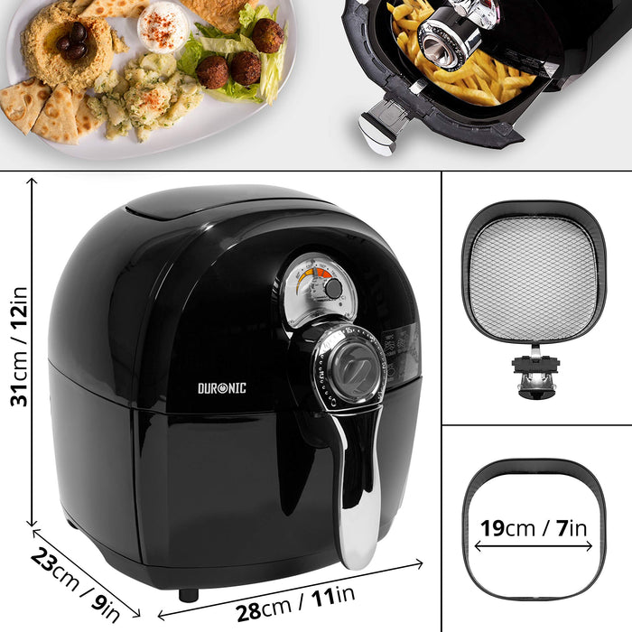 Duronic Air Fryer AF1 /B BLACK| Oil-Free & Low-Fat Healthy Cooking | Mini Oven | 1500W | 4.5L | Timer Function | Adjustable Temperature | Fry Chips, Chicken, Tasty Nutritious Meals | Free Recipe Book…