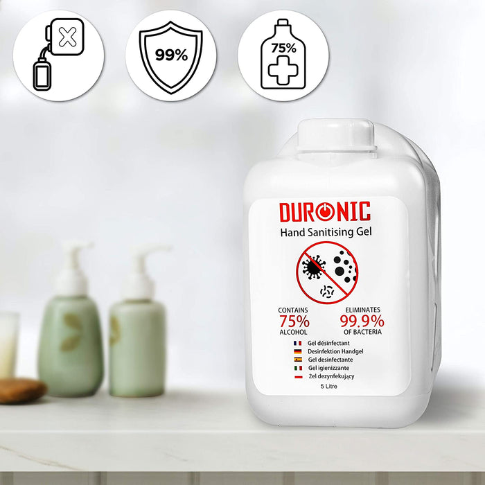 Duronic Hand Sanitiser Gel S5000ML [6 PACK] | 6x 5000ml Bottle – Large 5 Litre Refill Size | 75% Alcohol | Kills 99.9% Bacteria | Anti-Bacterial | Fast Drying | Fragrance-Free Formula
