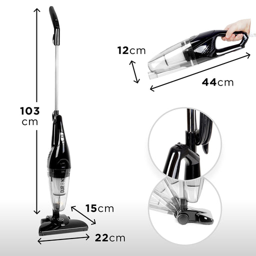 Duronic VC7/BK Upright Stick Vacuum Cleaner Hand held Corded HEPA Filter Bagless Stick Vac with Extra Filter and 2 in 1 Crevice/Brush Tool - Convert from Upright to Hand Held