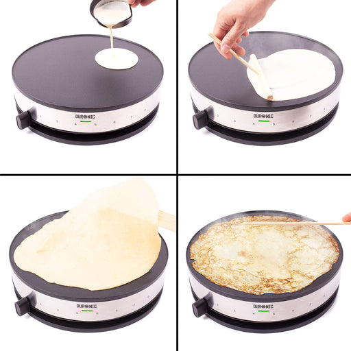 "Duronic Crepe Maker PM131 | 33cm Electric Pancake Machine | 1300W | Cook Traditional French Crêpes and Galettes | Large 13"" Non-Stick Hot Plate 