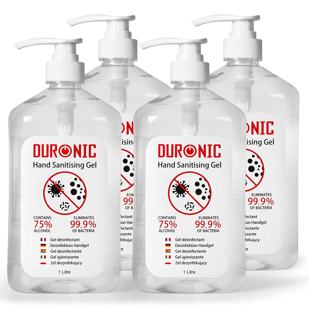 Duronic Hand Sanitiser Gel S1000ML [4 PACK] | 4x 1000ml Bottles – Large 1 Litre Jumbo Size | 75% Alcohol | Kills 99.9% Bacteria | Anti-bacterial | Fast Drying | Fragrance-Free Formula