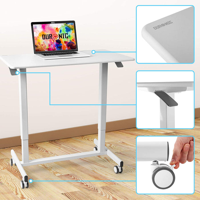 Duronic Sit-Stand Desk TM03T | White Ergonomic Desk | Multi-Use Home Office Table on Wheels | For both Adults & Children | 88x50cm Platform | Portable | Adjustable Height 73-107cm | 15kg Capacity