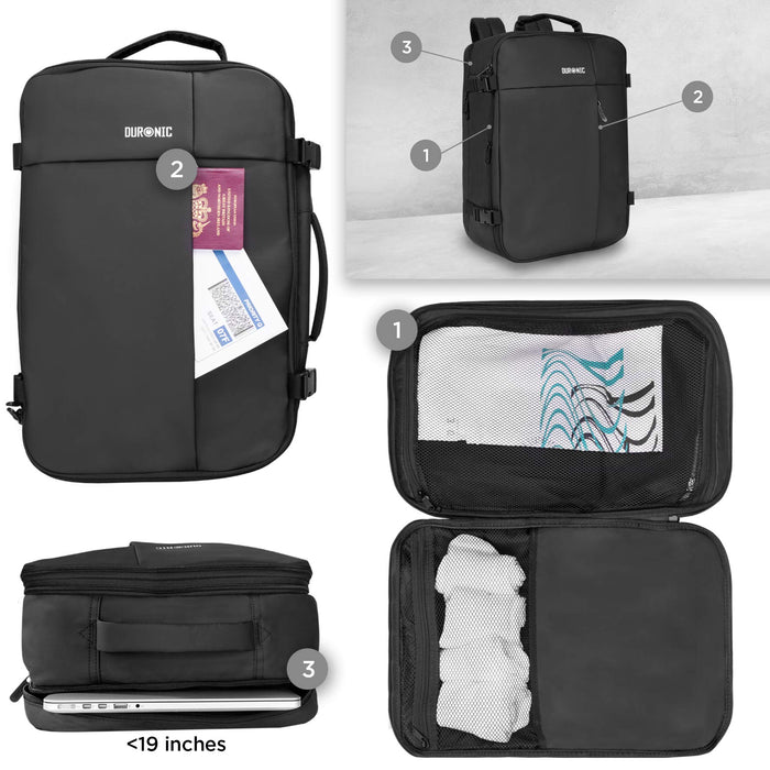 Duronic Laptop Bag LB26 | Max Cabin Size Case | Flight Approved Carry On | 15.6 Inch Internal Padded Laptop MacBook Sleeve | Multiple Compartments | Luggage Strap for Travel | Water-Resistant Backpack…