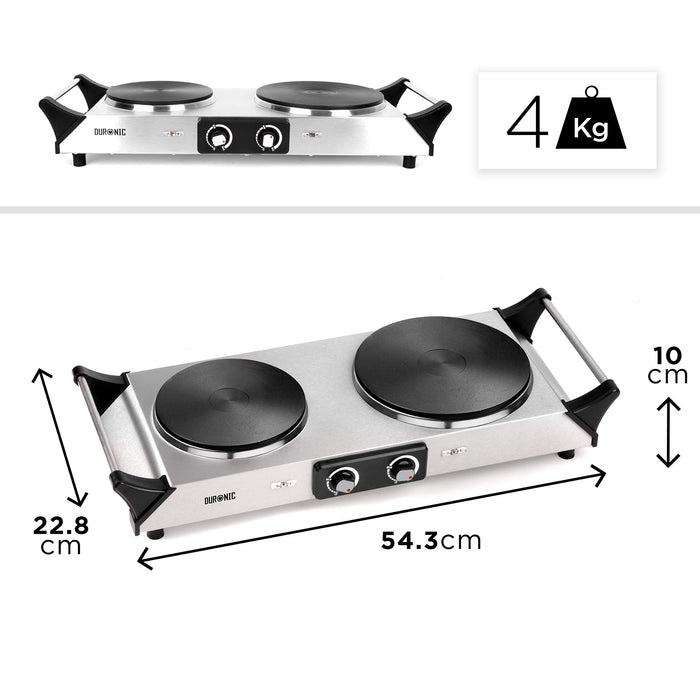 Duronic HP2SS Portable Electric Hot Plate Hob Cooktop Double Boiling Ring Cooker 2500W Stainless Steel Table Top Hotplate (1500W & 1000W) with Handles