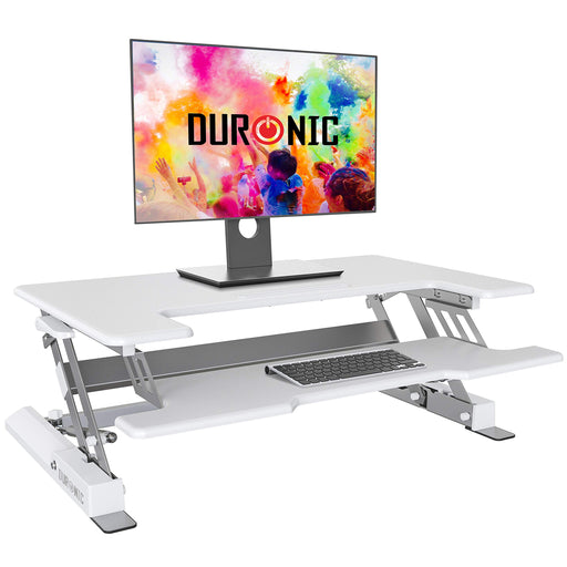 Duronic Sit-Stand Desk DM05D1WE [WHITE] | Height Adjustable Office Workstation | 92x56cm Platform | Raises 16.5-41.5cm | PC Computer Screen, Keyboard, Laptop Riser | Ergonomic Desktop Table Converter