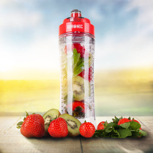 Duronic 600CR/RD Clear 600ml BPA Free Infuser Water Bottle with Red Lid - Compatible BL3 Blender