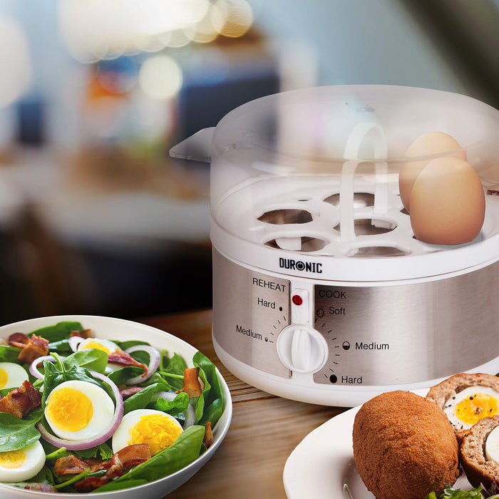 Duronic EB35 Electric 7 Egg Boiler Steamer Cooker with Buzzer - Soft | Medium | Hard Boiled Eggs Alarm Timer Settings | Stainless Steel - Includes Egg Cup Piercer & Measuring Water Cup…
