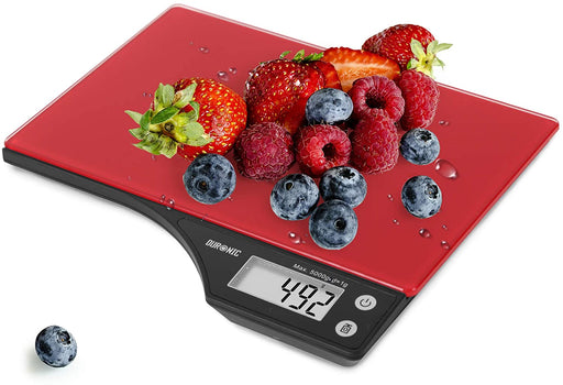 Duronic Digital Kitchen Scales KS350 | Red Design with Glass Platform | 5kg Capacity | Clear LCD Display | Add & Weigh Tare | 0.1g Precision | Measure Ingredients for Cooking & Baking