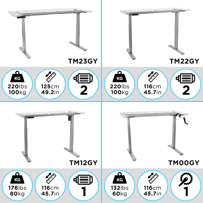 Duronic Sit Stand Desk Frame TM23GY | Electric Standing Office Table | Height Adjustable 60-125cm | Ergonomic Workstation | GREY | Memory Function | Dual Motor / 3 Stage