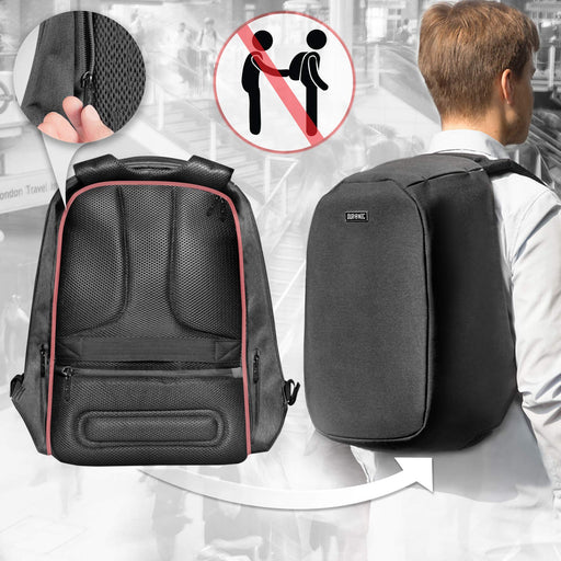 "Duronic LB22 Anti-Theft Laptop MacBook Backpack | Business Rucksack | Travel Bag | University | College |School | 13.3"" – 15.6"" Internal Laptop Sleeve 