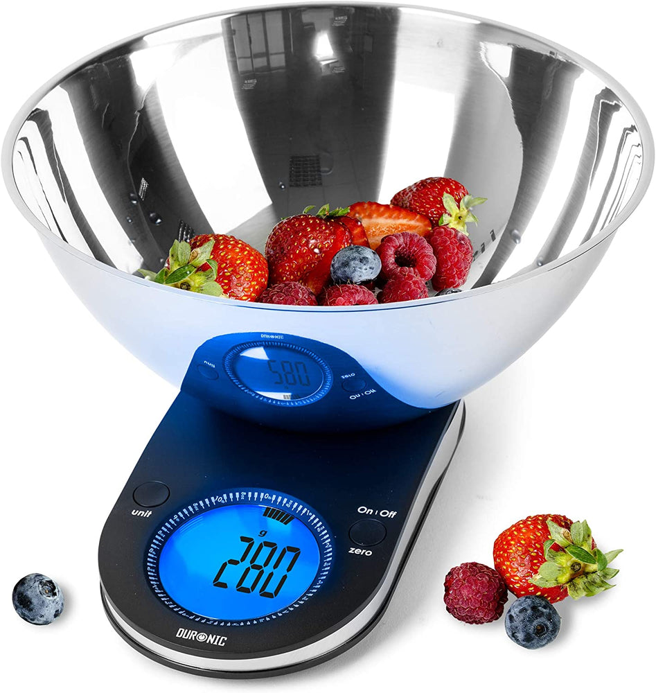 Duronic Kitchen Scales KS5000 with 3L Mixing Bowl | Digital Postal Scale 5KG Baking scales | Stain-less Steel | Large Display