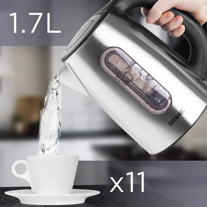 Duronic Electric Kettle EK42 | Stainless Steel 1.7L Fast Boil Kettle | Eco 3000W Variable Temperature Control | Keep Warm Function | Energy Efficient | Insulated Cool Touch | Cordless | Multi-Use