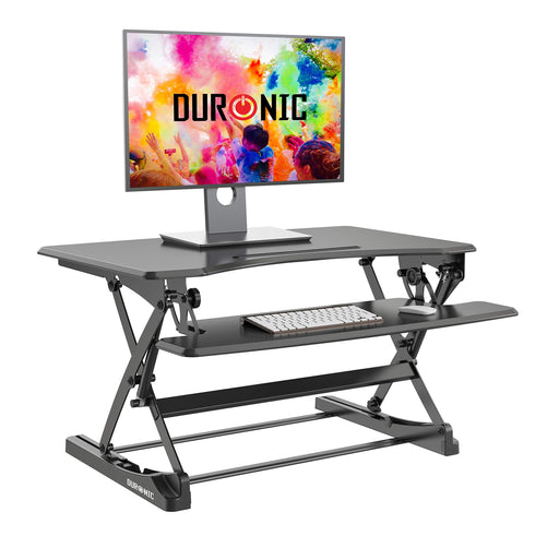 Duronic Sit-Stand Desk DM05D23 | Height Adjustable Office Workstation | 90x57cm Platform | Raises from 15-49cm | Riser for PC Computer Screen, Keyboard, Laptop | Ergonomic Desktop Table Converter
