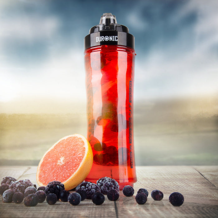 Duronic 600RD/BK Red 600ml BPA Free Infuser Water Bottle with Black Lid - Compatible BL3 Blender