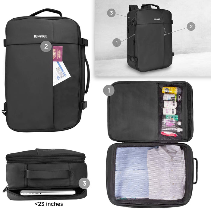 Duronic Cabin Bag LB326 | Max Cabin Size Case | Large Flight Approved Carry On | 14 15 17 Inch Laptop MacBook Sleeve | Multiple Compartments | Luggage Strap for Travel | Water-Resistant Backpack…
